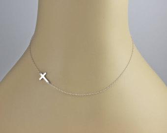 24 inch tiny sterling silver sideways cross by dazlingjewels