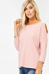 top,blush,pink,cold shoulder,open shoulder,drop shoulder,thermal,textured