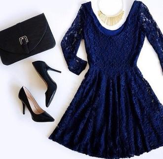 bag shoes heels dress lace dress blue dress