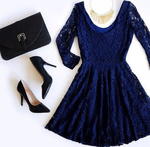 dress lace dress bag shoes heels blue dress