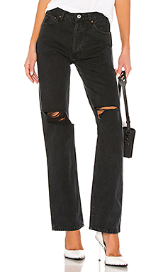 RE/DONE High Rise Loose in Washed Black With Rips from Revolve.com