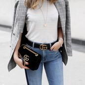 t-shirt,grey blazer,gucci belt,bag,tumblr,white t-shirt,necklace,gold necklace,jewelry,gold jewelry,blazer,denim,jeans,blue jeans,belt,logo belt,gucci bag,chain bag,black bag,top,white top,gucci