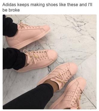 shoes pink adidas adidas shoes adidas superstars sneakers cute streetwear streetstyle baddies