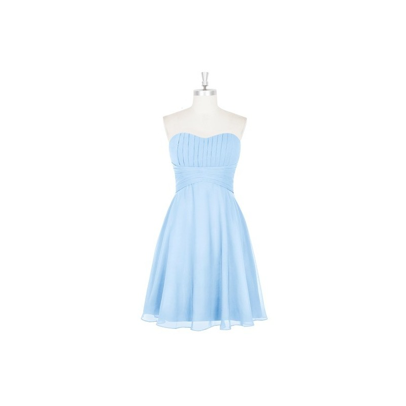 Sky_blue Azazie Aryana - Back Zip Chiffon Sweetheart Knee Length Dress - Cheap Gorgeous Bridesmaids Store