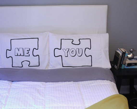 Puzzle Piece Pillow Case For Weddings Couples Love by OSusannahs