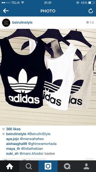tank top white adidas top white top black top black adidas top top