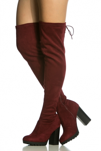 5ce8ba59ddd Burgundy Faux Suede Chunky Thigh High Boots @ Cicihot Boots Catalog:women's  winter boots,leather thigh high boots,black platform knee high boots,over  ...