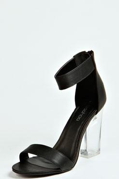 Lauren Ankle Strap Perspex Heels at boohoo.com