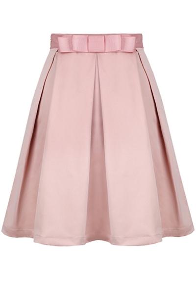 Charming Pleaded Knee-Length Skirt - OASAP.com