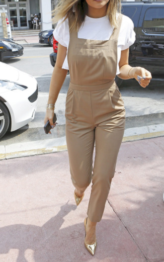jumpsuit overalls tan streetstyle chic kylie jenner top