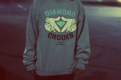 sweater,diamond supply co.,crooks and castles,grey,mickey mouse hands,oversized sweater