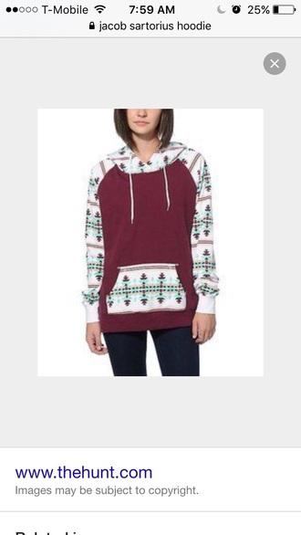 sweater burgundy aztec hoodie jacket aztc pattern winter sweater hoodie color/pattern colorful it is maroon it is burgunfy maroon white blue coral jumper maroon tribal aztec sweater aztec celebrity burgundy sweater