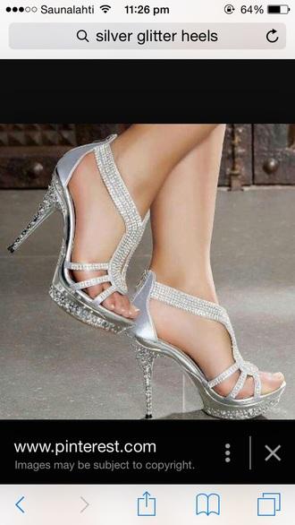 shoes silver glitter heels