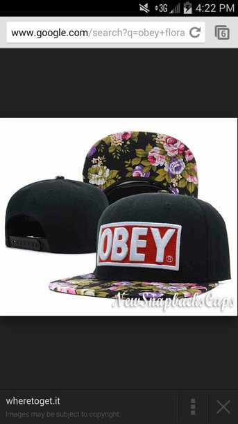 42d87aae708 hat from Obey Floral 5 Panel Cap Snapback Hats Original Black ...