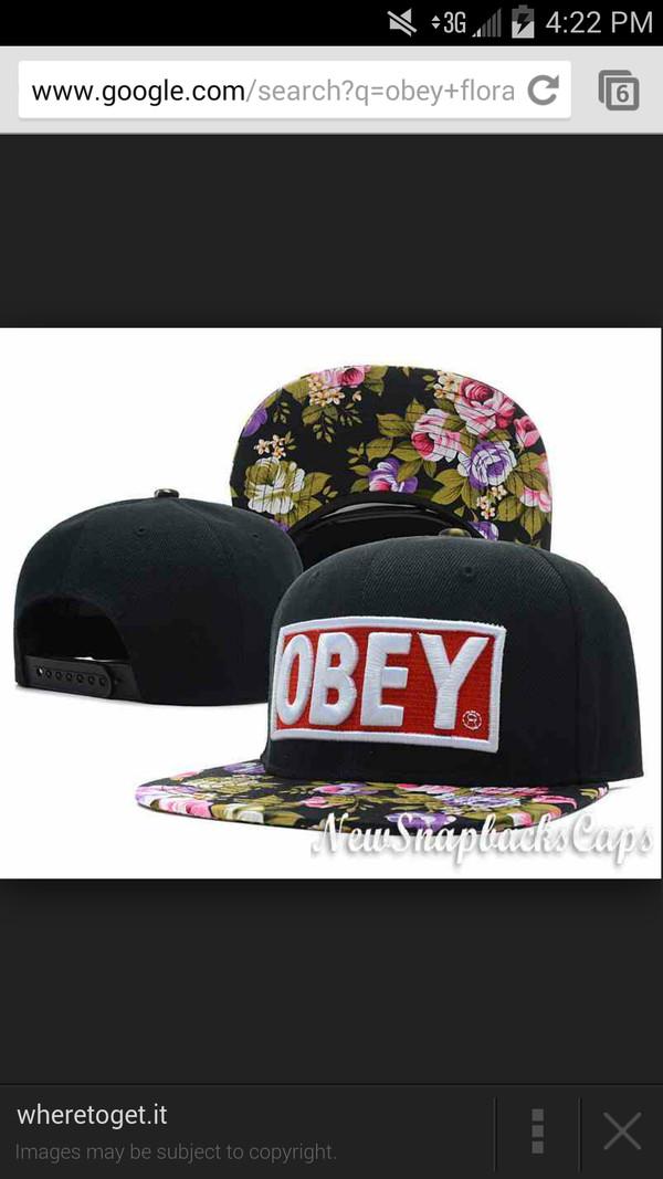 hat obey cap floral