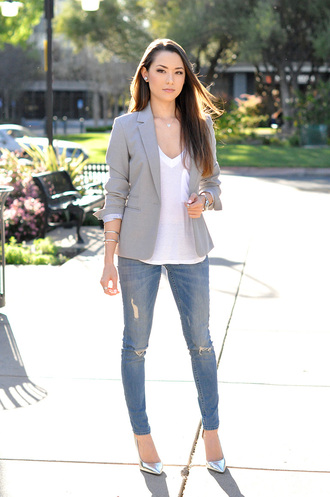 hapa time blogger jacket t-shirt jewels shoes grey blazer