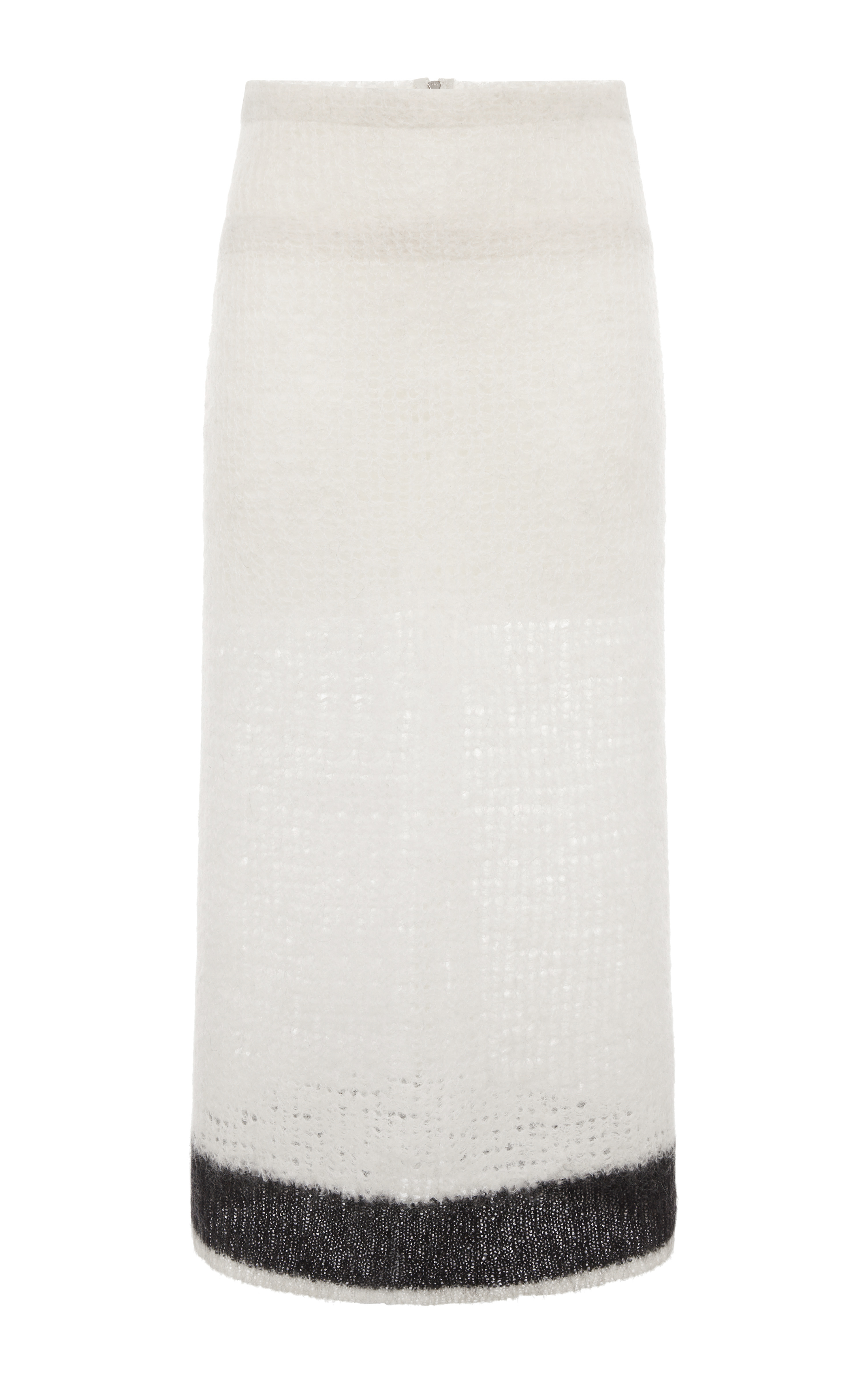 White and black mohair open weave knit tube skirt by calvin klein collection