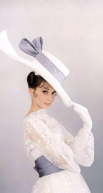 hat audrey hepburn big hat white hat dress white dress lace dress long sleeve dress hairstyles natural makeup look