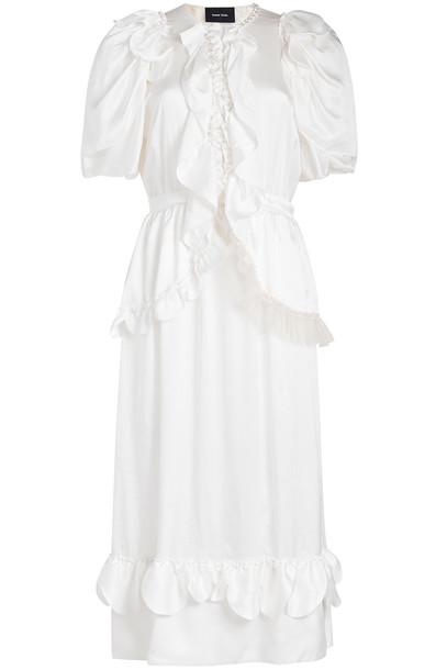 Simone Rocha Beaded Ruffle Front Silk Dress  in white