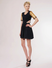 gold,pixie market,black dress,yellow dress,dress
