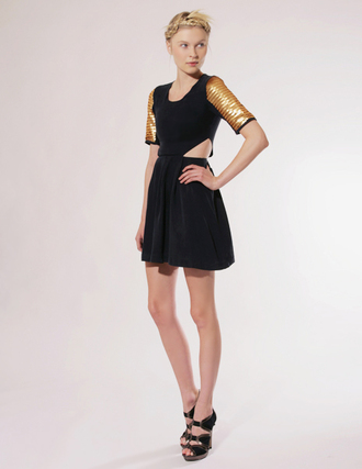 little black dress yellow dress gold pixie market