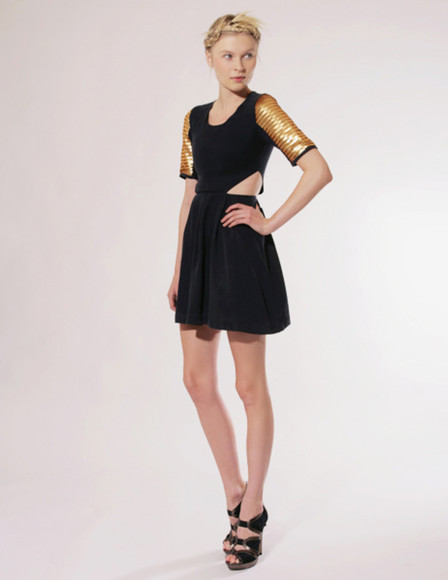 gold pixie market little black dress yellow dress