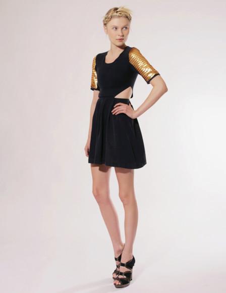 gold pixie market little black dress yellow dress