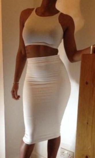 skirt white bodycon knee length