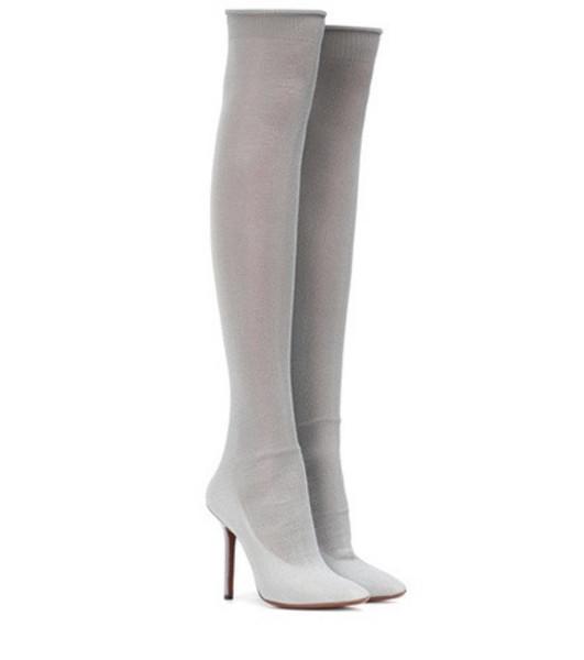 Vetements Metallic over-the-knee boots in silver