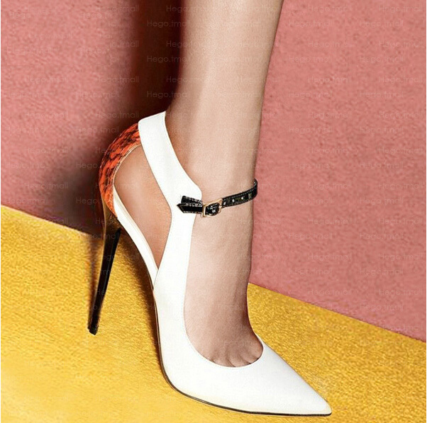 Aliexpress.com : Buy 2014 New European Patent Leather Shoes Women Patchwork Snake Patten BackHollow Strap Buckle Pointed Toe Heel Elaphe Pumps from Reliable leather dress sandals suppliers on Lady Go Fashion Shop