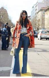 jeans,white print shirt,orange floral jacket,flared jeans,white bag,blogger,sunglasses