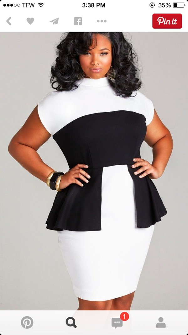 Dress Peplum Plus Size Black White Wheretoget