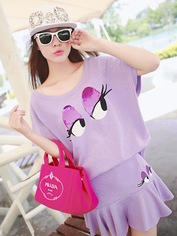 t-shirt cute lovely dress bag sunglasses purple