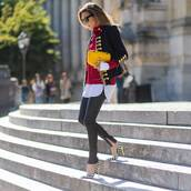 shoes,tumblr,pumps,pointed toe pumps,high heel pumps,stripes,pants,black pants,leather pants,black leather pants,military style,jacket,sweater,red sweater,bag,yellow bag,streetstyle,gucci,gucci bag
