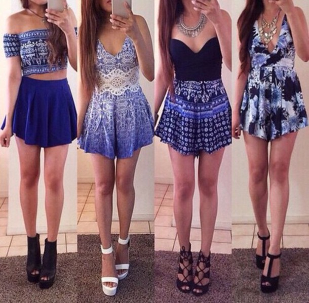 dress crop tops shorts shoes romper blue lace shirt skirt