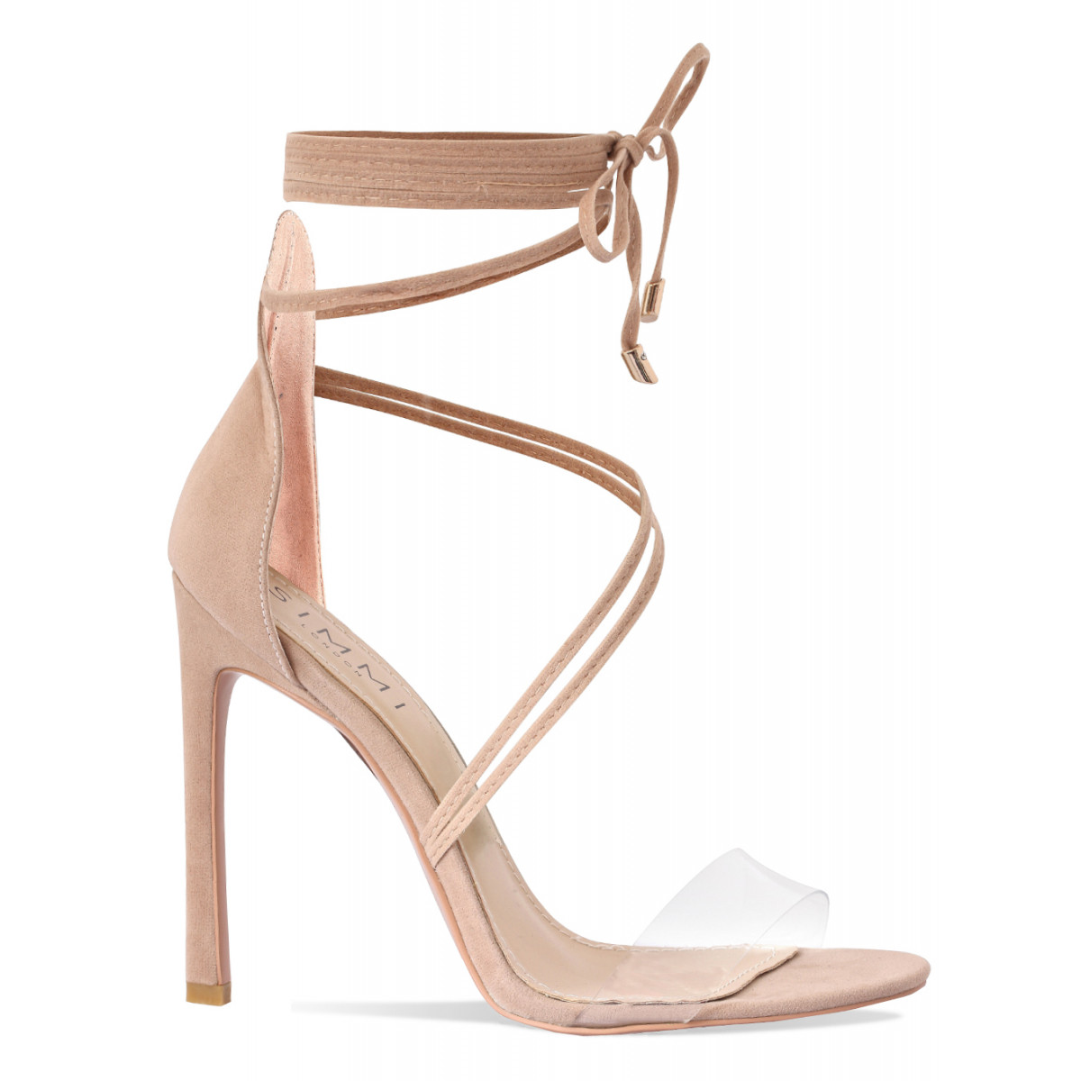 93f124a54cc Kaira Nude Suede Transparent Lace Up Heels : Simmi Shoes