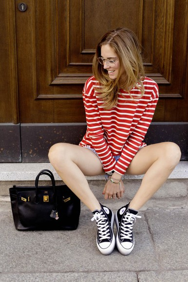 red blogger t-shirt summer outfits High waisted shorts shorts stripes the blonde salad bag striped sweater striped shirt red stripes converse denim shorts vintage maxi bag