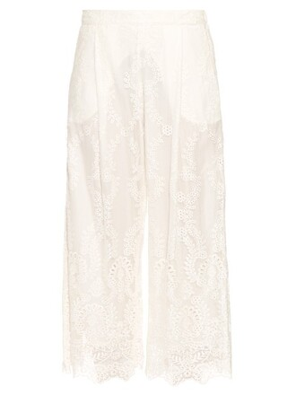 chiffon embroidered silk white pants