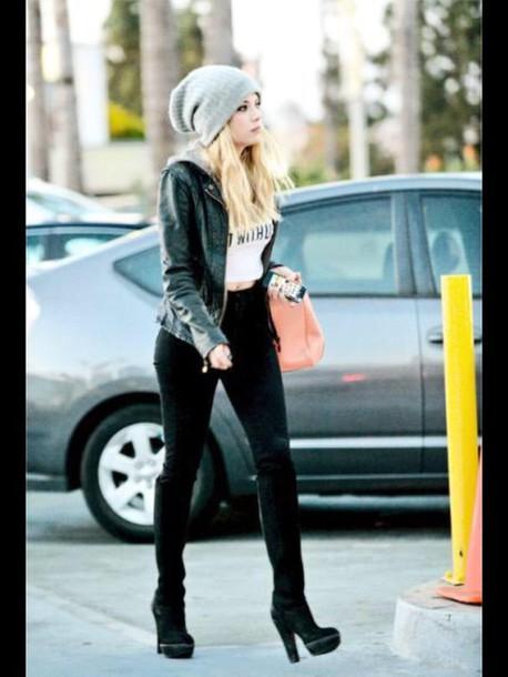 jacket black beanie crop tops leggings shoes boots