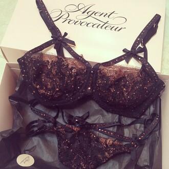 underwear see-through bra and underwear a bra glamour style black