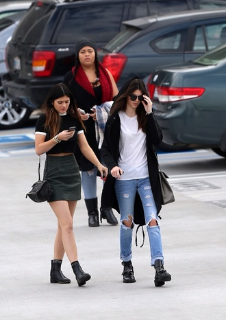 skirt kylie jenner kendall jenner boyfriend jeans white top shirt jeans shoes