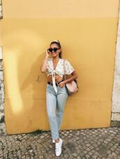 kenza,blogger,jeans,top,shoes,belt,sunglasses,bag,tie-front top,sneakers,summer outfits
