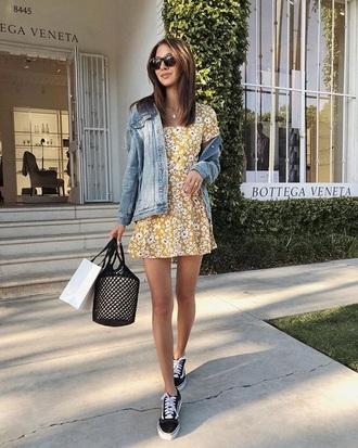 dress yellow yellow dress floral floral dress sneakers black sneakers sunglasses jacket mini dress denim jacket denim