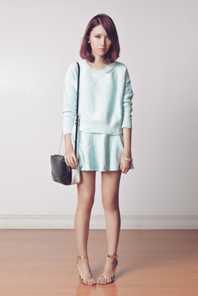 sweater blue sweater set blue skirt