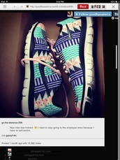 shoes,nike,nike sneakers,tribal pattern,bag,nike free run,aztec nikes,nike running shoes,aztec,nike tribal shoes,tribal/ aztec pattern nike free runs,tribal shoes,running,freerun,fitness,gym,everything you want,pink,white,turquoise,nike blue shoes roshe,aztec shoes,nike air