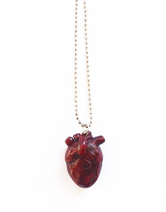 Handmade Anatomical Heart Necklace - anatomy necklace, heart ...