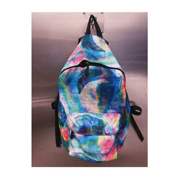 bag tie dye rainbow back pack mulit-color top