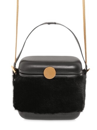 mini fur bag leather black