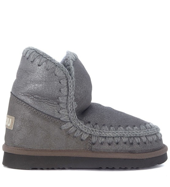 Mou sheepskin ankle boots grey shoes