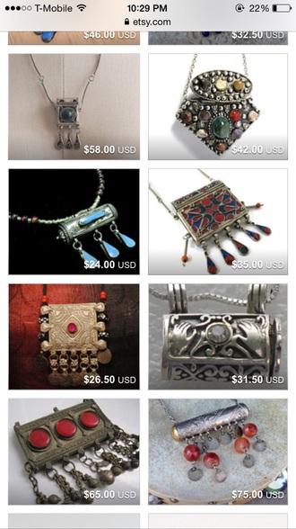 jewels boho vintage prayer necklace metal middle east necklace prayer box